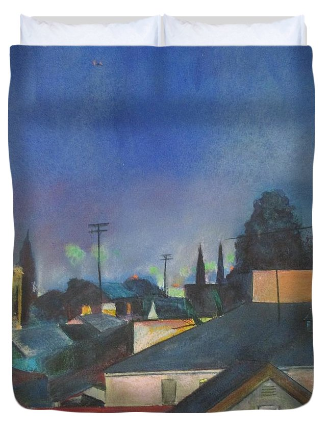 Landscape Night Skyline Urban City View Duvet Cover featuring the painting North Hollywood Sky Line by Bernadette Tibazi