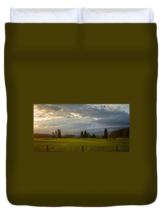 Pastoral Duvet Cover featuring the photograph North Idaho Sunrise by Albert Seger