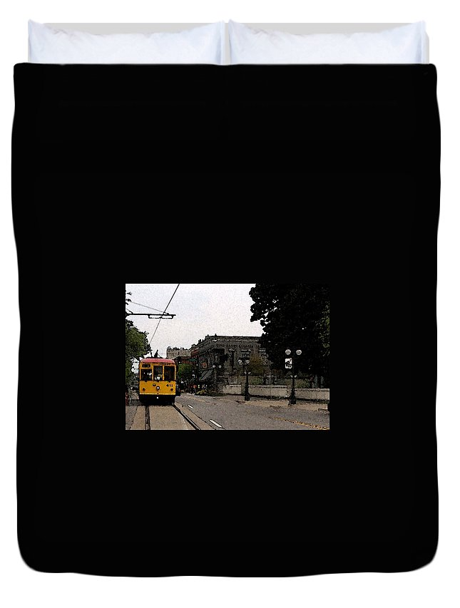Trolley Duvet Cover featuring the digital art North Little Rock Argenta District by David McGhee