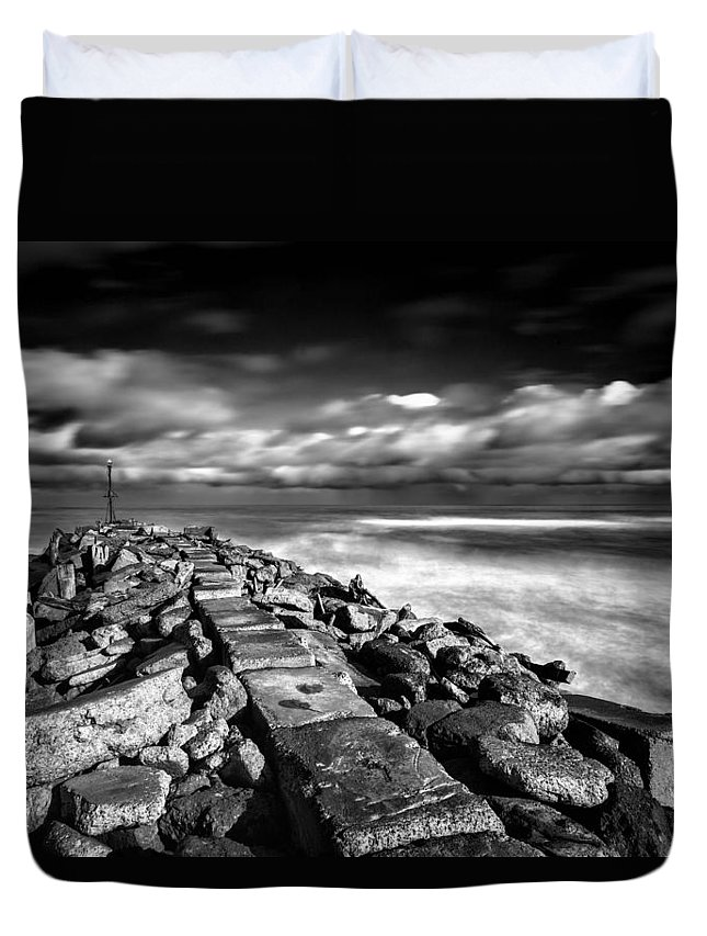 Mono Duvet Cover featuring the photograph North Mole by Russ Dixon