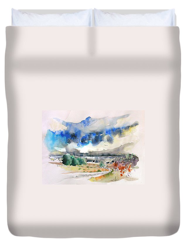 France Duvet Cover featuring the painting North Of France 01 - The Coast by Miki De Goodaboom