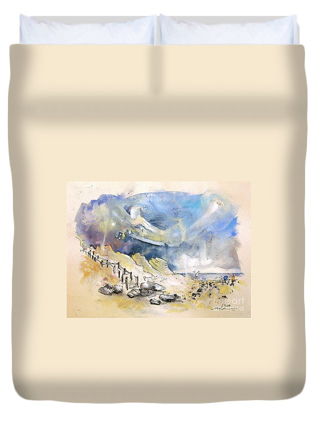 France Duvet Cover featuring the painting North Of France 03 - The Coast by Miki De Goodaboom