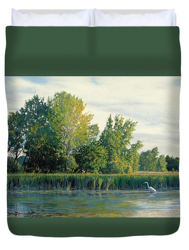 Great Egret Duvet Cover featuring the drawing North Of The Grade-great Egret by Bruce Morrison