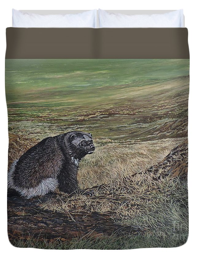 Wolverine Duvet Cover featuring the painting North Of The Utukok River by Jeff Cain