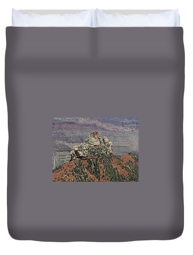 Rock Duvet Cover featuring the photograph North Rim Rock by Louise Magno