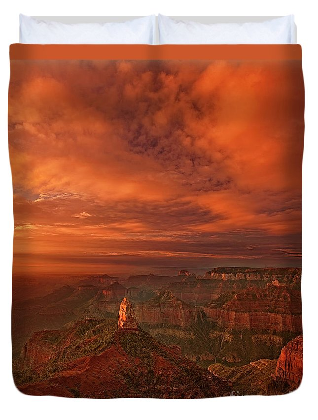 Dave Welling Duvet Cover featuring the photograph North Rim Storm Clouds Grand Canyon National Park Arizona by Dave Welling