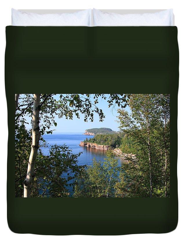 Lake Blue Water Shore Lake Superior Shoreline Minneosta Nature Park Duvet Cover featuring the photograph North Shore Lake Superior by Shari Jardina