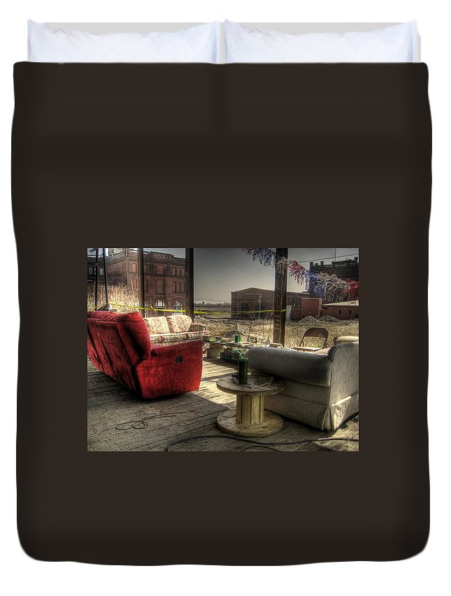 Hdr Duvet Cover featuring the photograph North St. Louis Porch by Jane Linders
