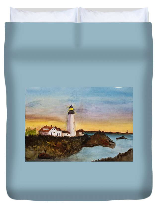 Light House Duvet Cover featuring the painting North Truro Light House Cape Cod by Donna Walsh