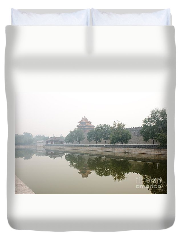 Forbidden City Duvet Cover featuring the photograph North Wall Of The Forbidden City Beijing China by Thomas Marchessault