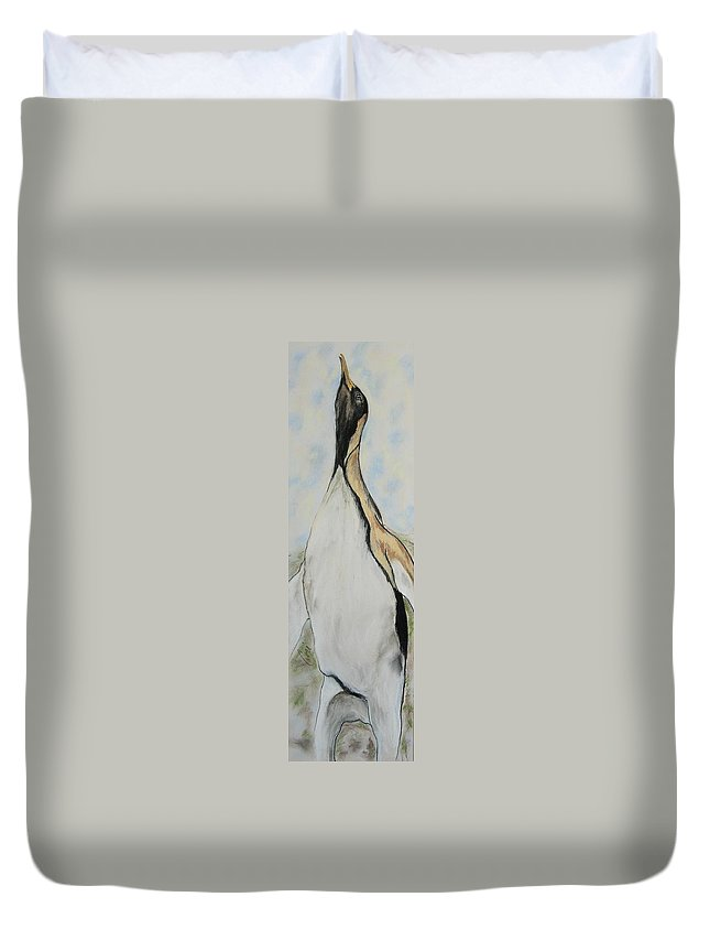 Penguin Duvet Cover featuring the drawing Northern Bliss by Cori Solomon