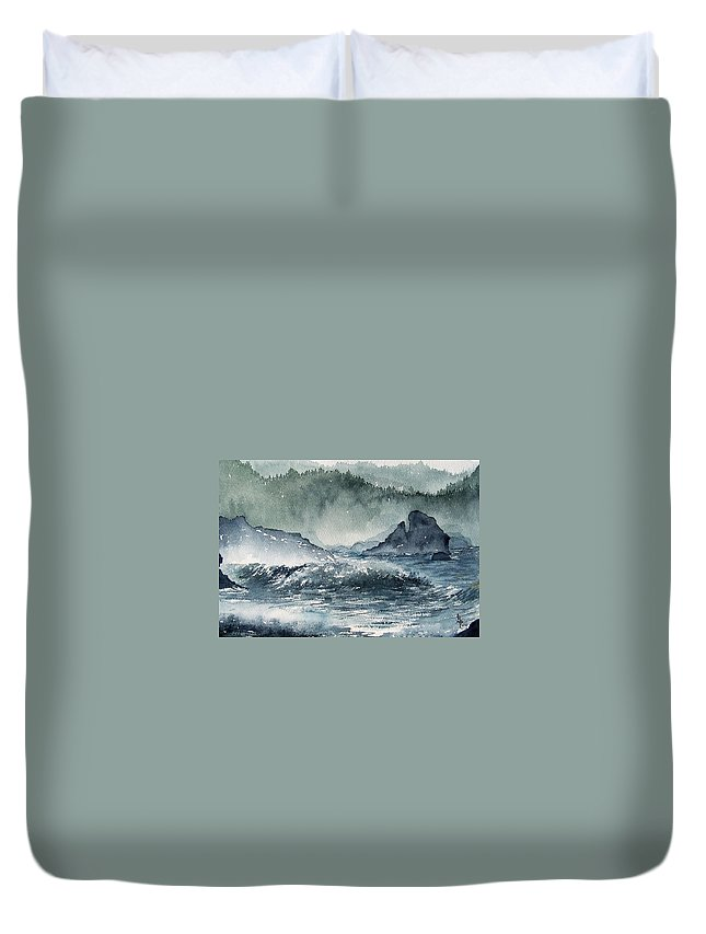 Ocean Duvet Cover featuring the painting Northern California Coast by Gale Cochran-Smith