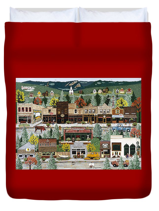 Tv Duvet Cover featuring the painting Northern Exposure by Jennifer Lake
