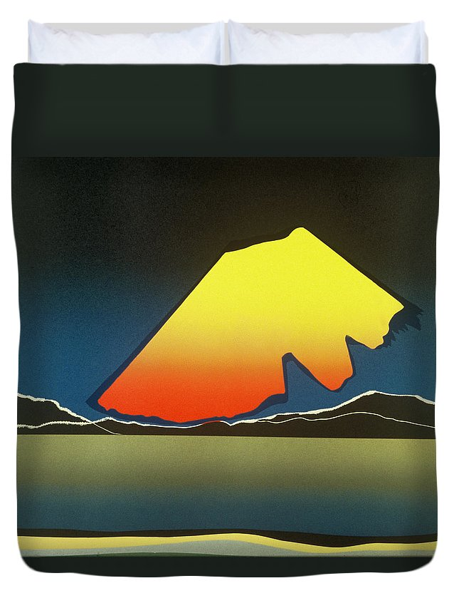 Landscape Duvet Cover featuring the mixed media Northern Light. by Jarle Rosseland