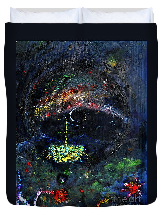 Votive Duvet Cover featuring the painting Northern Lights by Andy Mercer