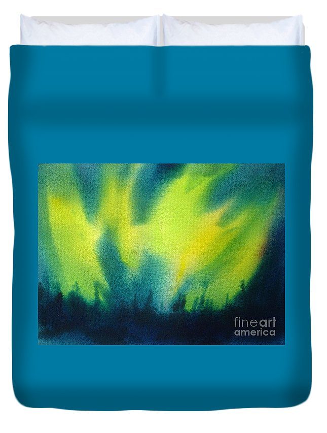 Paintings Duvet Cover featuring the painting Northern Lights I by Kathy Braud