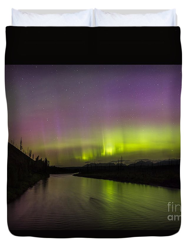 Glacier Duvet Cover featuring the photograph Northern Lights Over The North Fork Of The Flathead River by Heavens Peak