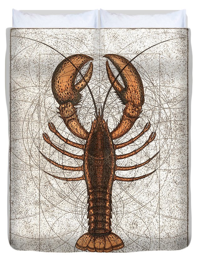 Lobster Duvet Cover featuring the painting Northern Lobster by Charles Harden