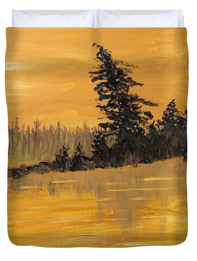 Northern Ontario Duvet Cover featuring the painting Northern Ontario Three by Ian MacDonald