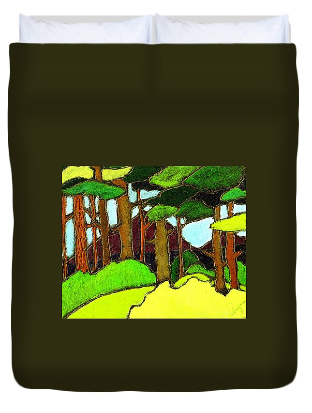 Trees Duvet Cover featuring the painting Northern Pathway by Wayne Potrafka