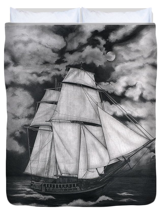 Ship Sailing Into The Northern Winds Duvet Cover featuring the drawing Northern Winds by Larry Lehman