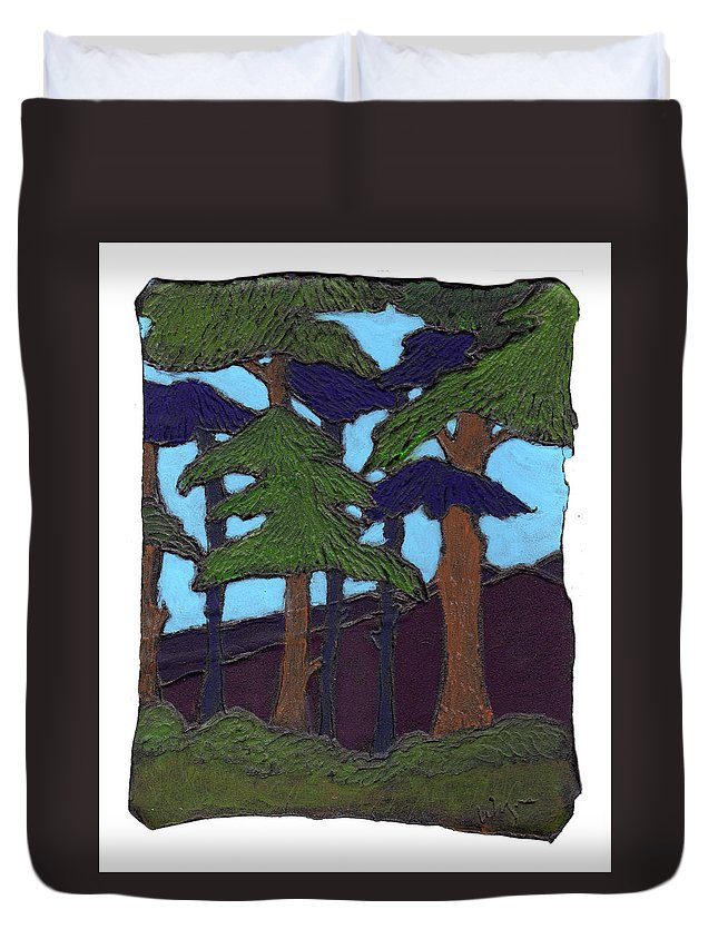 Tree Duvet Cover featuring the painting Northern Woods by Wayne Potrafka