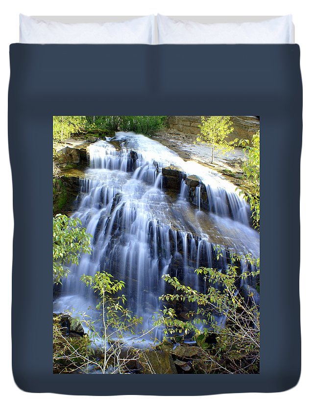 Waterfalls Duvet Cover featuring the photograph Northfork Falls by Marty Koch