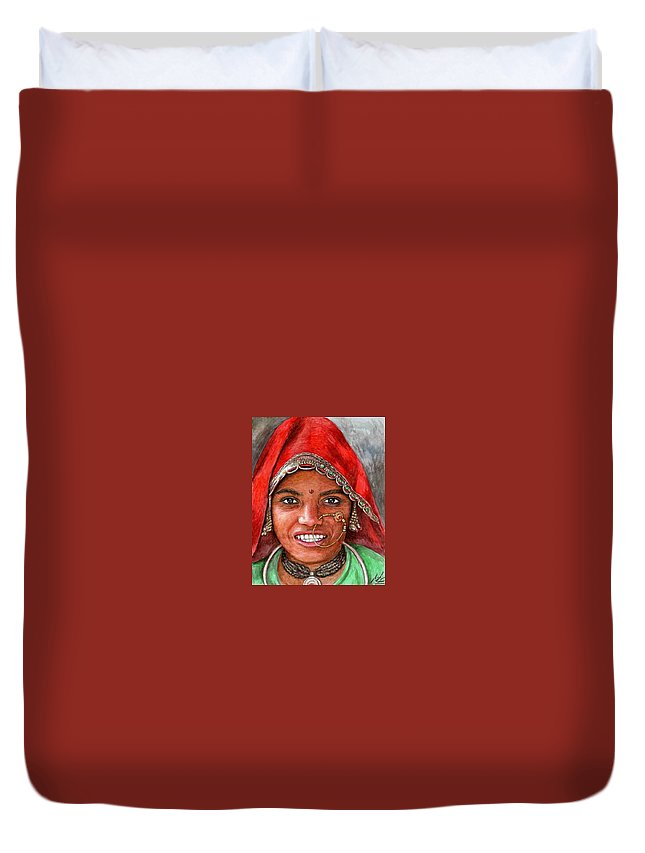 Woma Duvet Cover featuring the painting Northindian Woman by Nicole Zeug