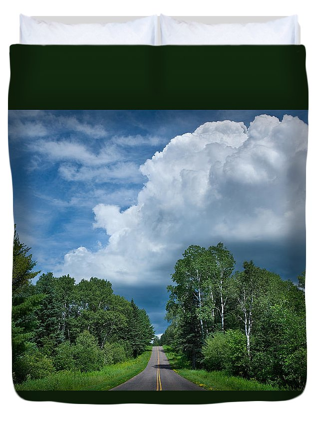 Cloud Duvet Cover featuring the photograph Northwoods Road Trip by Steve Gadomski
