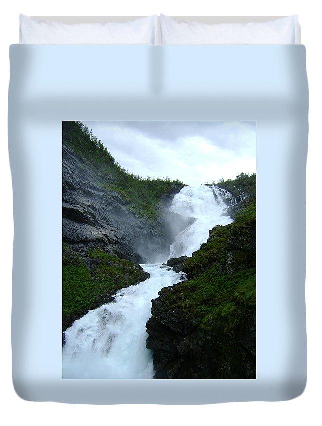 Water Duvet Cover featuring the digital art Norwegian Waterfall by Dawn Heimer