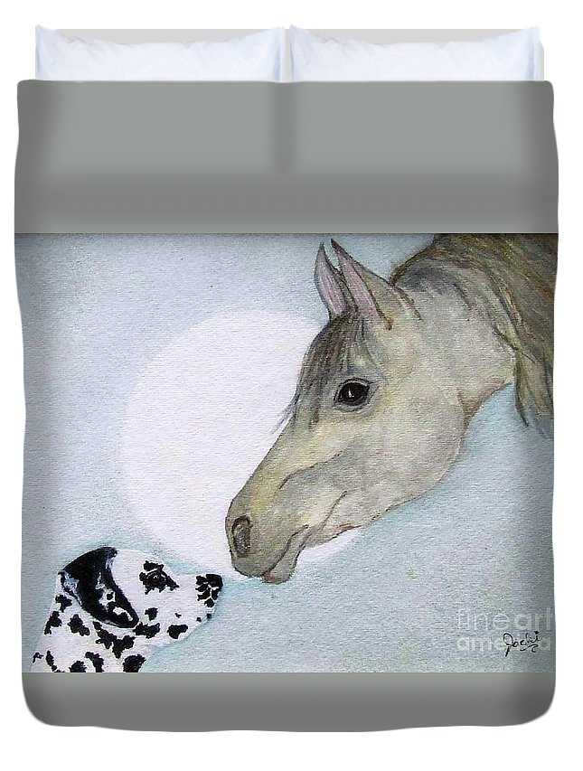 Dog Duvet Cover featuring the painting Nose 2 Nose by Jacki McGovern