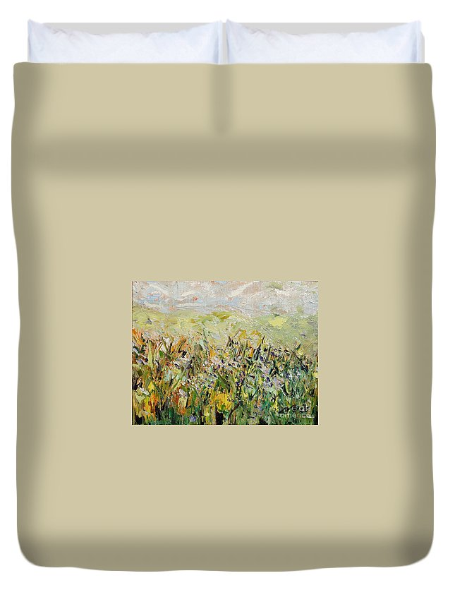 Field Paintings Duvet Cover featuring the painting Nose Hill by Seon-Jeong Kim
