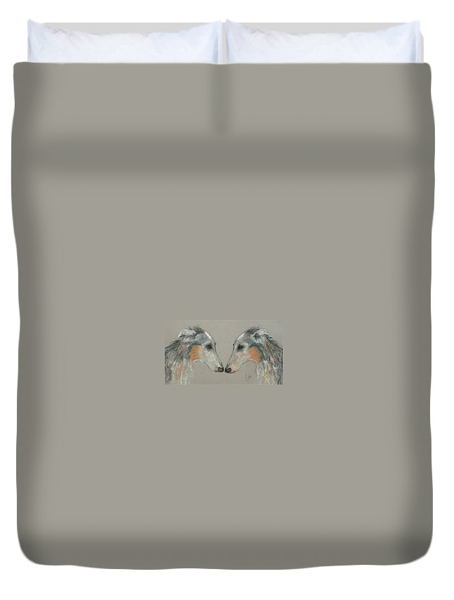 Dog Duvet Cover featuring the drawing Nose To Nose by Cori Solomon