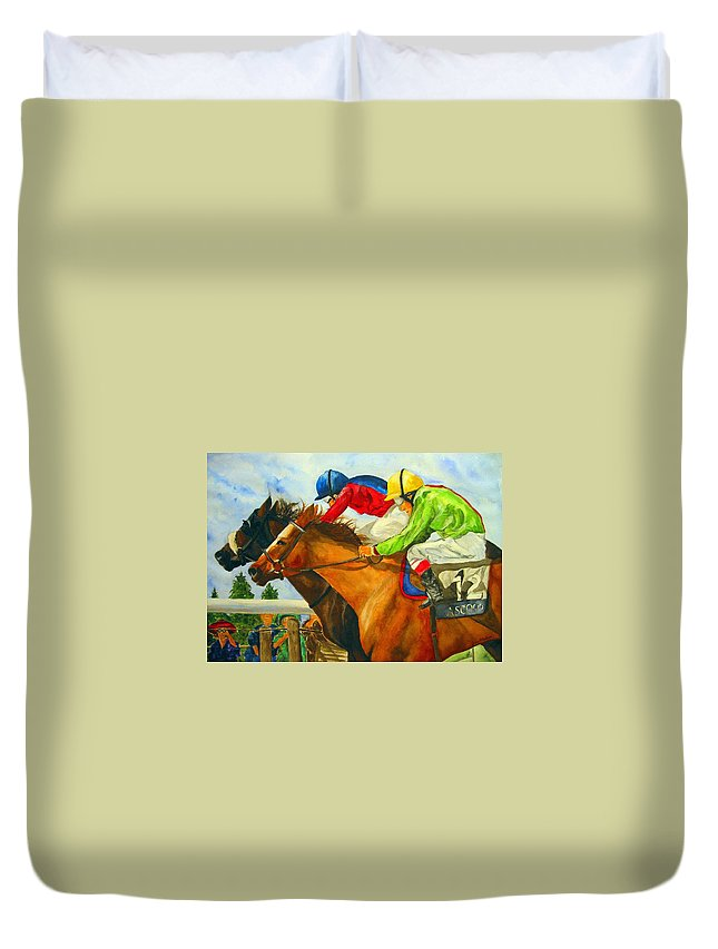 Horse Duvet Cover featuring the painting Nose To Nose by Jean Blackmer