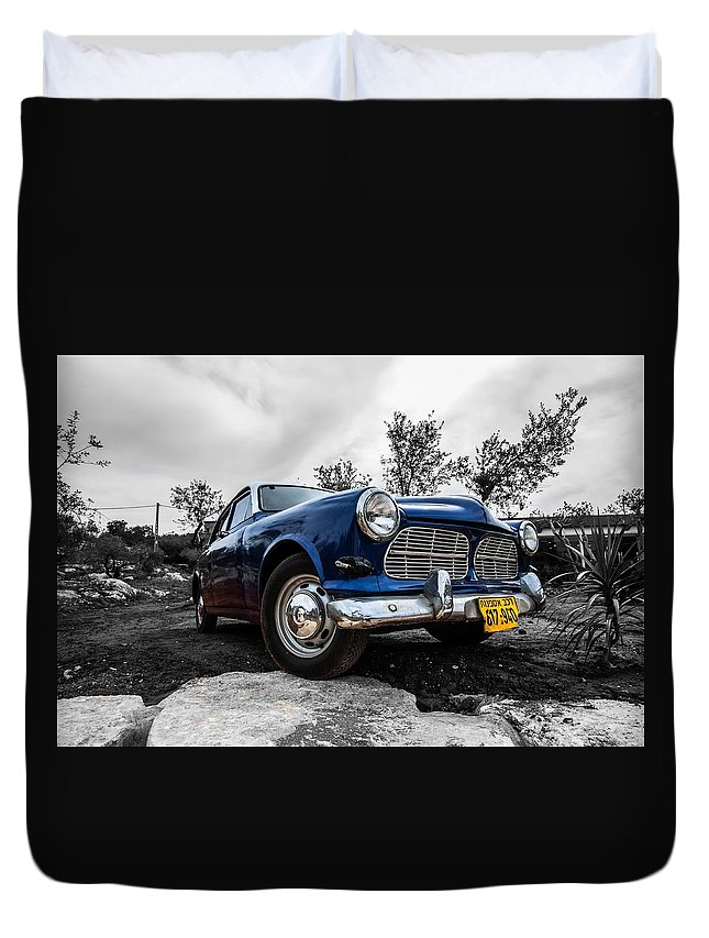 Cars Nostalgy Old Car Duvet Cover featuring the pyrography Nostalgic Car by Bilal Zedan