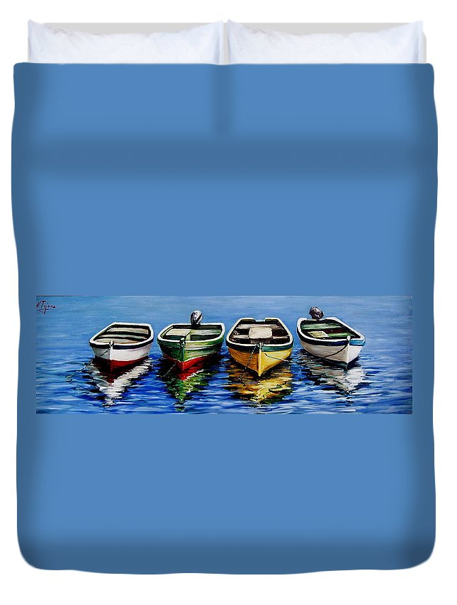 Marine Sea Water Ocean Boats Reflection Seascape Duvet Cover featuring the painting Not Alone by Natalia Tejera