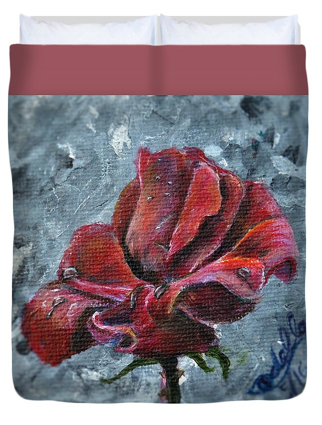 Flower Duvet Cover featuring the painting Not Every Rose Is Perfect by Idella Cutler