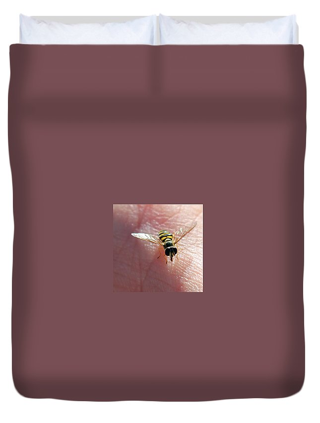 American Hover Fly Duvet Cover featuring the photograph Not Hovering by Jennifer Robin
