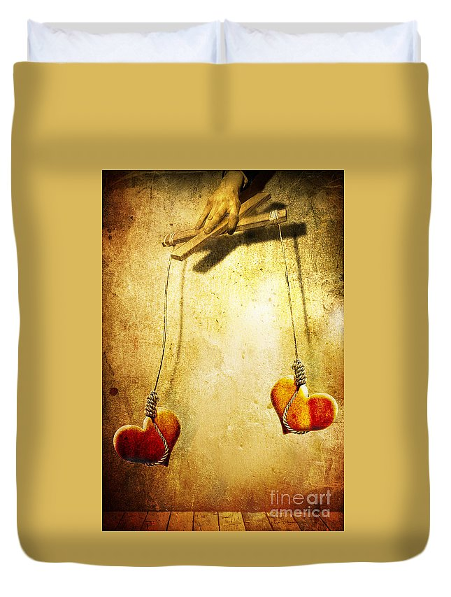 Puppeteer Duvet Cover featuring the painting Not Meant To Be... by Jacky Gerritsen