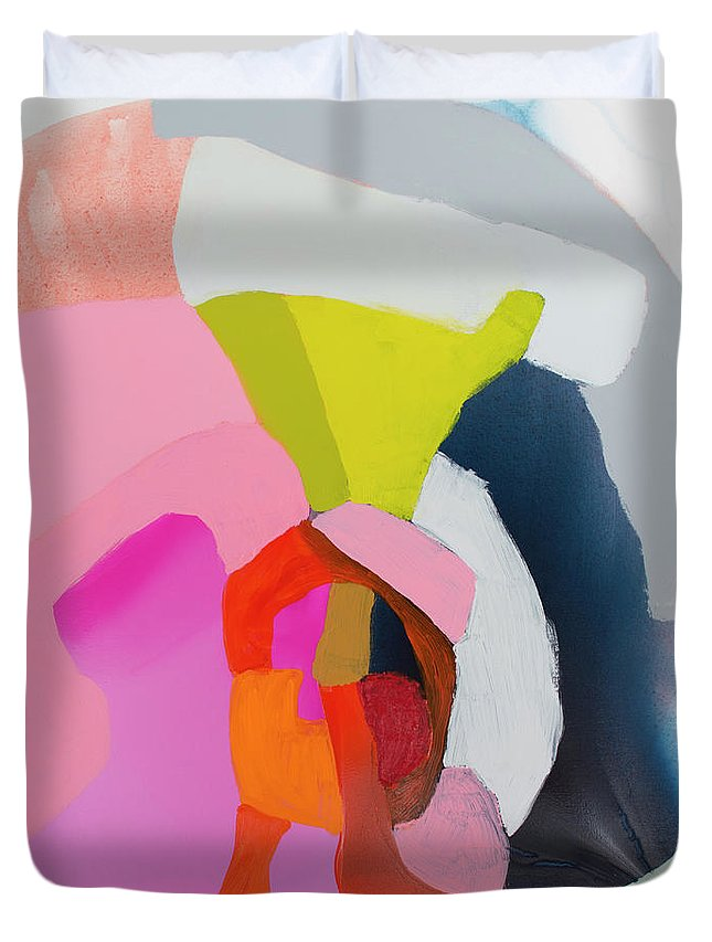 Abstract Duvet Cover featuring the painting Note To Self by Claire Desjardins