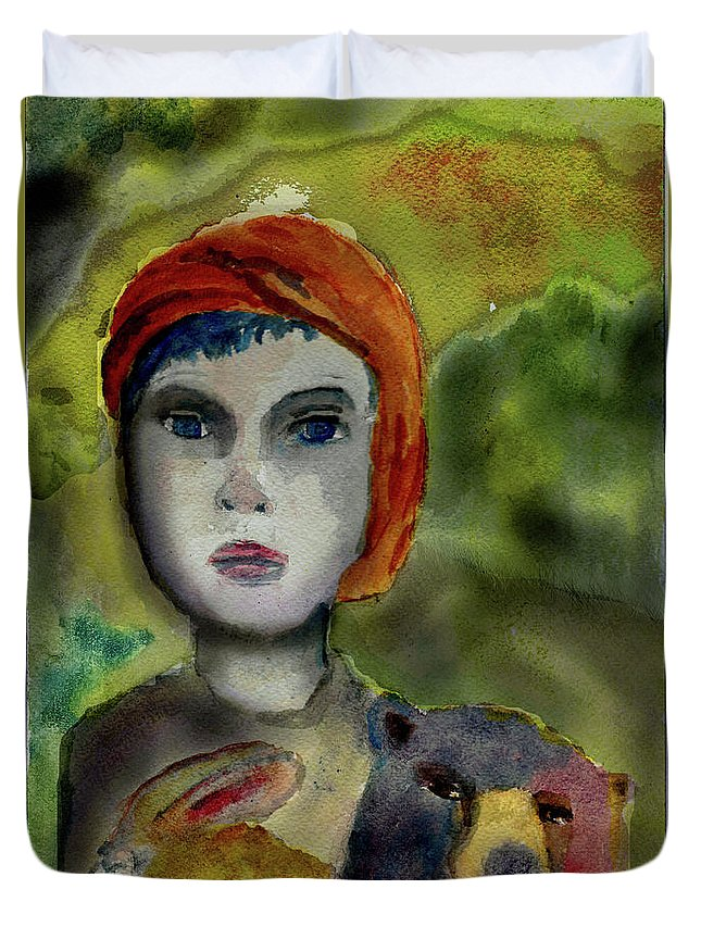 Girl Duvet Cover featuring the painting Noted by Cynthia Richards