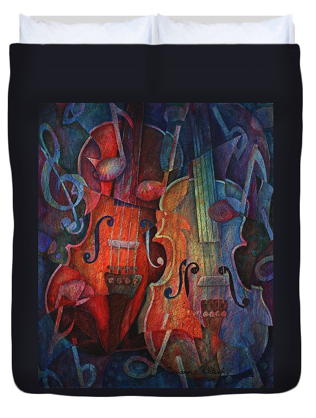 Susanne Clark Duvet Cover featuring the painting Noteworthy - A Viola Duo by Susanne Clark