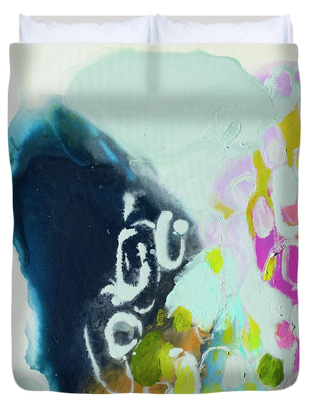 Abstract Duvet Cover featuring the painting Nothing Is As It Seems by Claire Desjardins