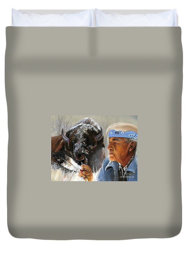 Southwest Art Duvet Cover featuring the painting Nothing Is Ever Forgotten by J W Baker