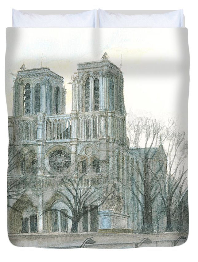 Notre Dame Duvet Cover featuring the painting Notre Dame Cathedral In March by Dominic White