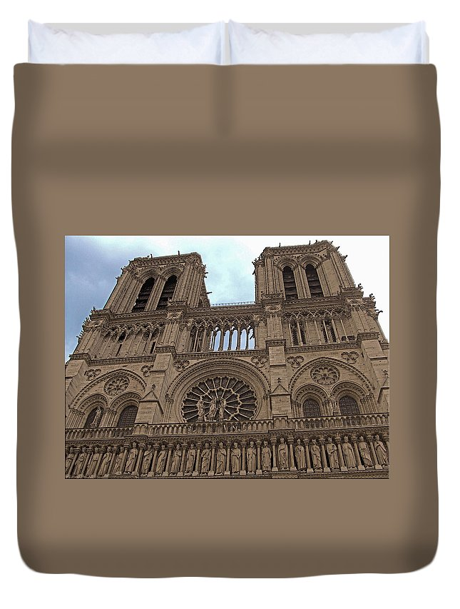 Architecture Duvet Cover featuring the photograph Notre-dame Cathedral by Mark Sellers