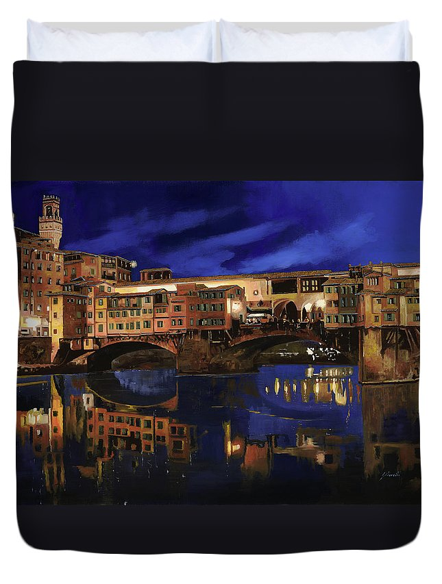 Firenze Duvet Cover featuring the painting Notturno Fiorentino by Guido Borelli