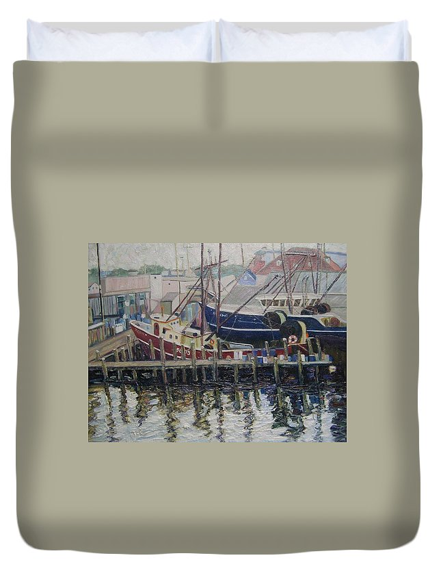 Boats Duvet Cover featuring the painting Nova Scotia Boats At Rest by Richard Nowak