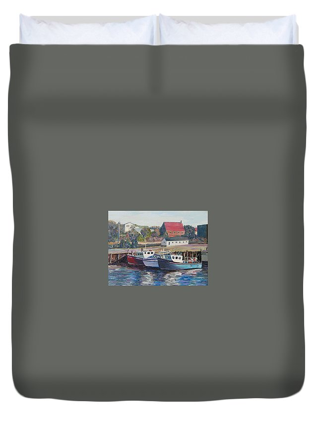 Nova Scotia Duvet Cover featuring the painting Nova Scotia Boats by Richard Nowak