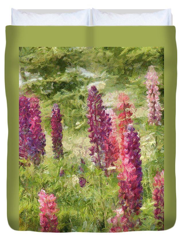 Nova Scotia Duvet Cover featuring the painting Nova Scotia Lupine Flowers by Jeffrey Kolker